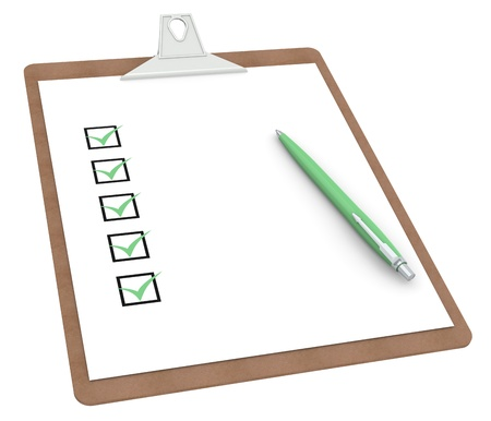 Clipboard with Checklist X 5 and Pen. Green color Side view. Stock Photo - 10291718