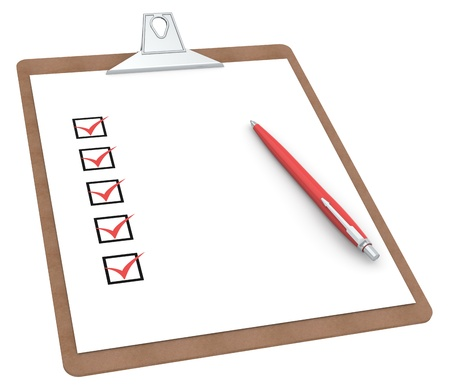 questionnaire: Clipboard with Checklist X 5 and Pen. Red color Side view. Stock Photo