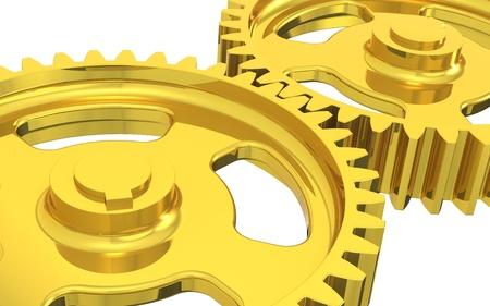 industrial mechanics: Engranajes de la m�quina de oro. Aislado. Foto de archivo
