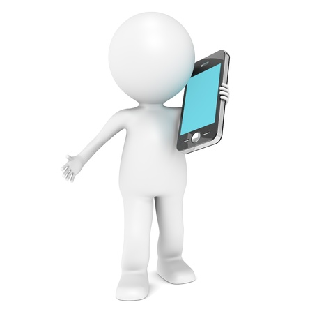 cellular telephone: 3D little human character Talking in a Mobile Phone