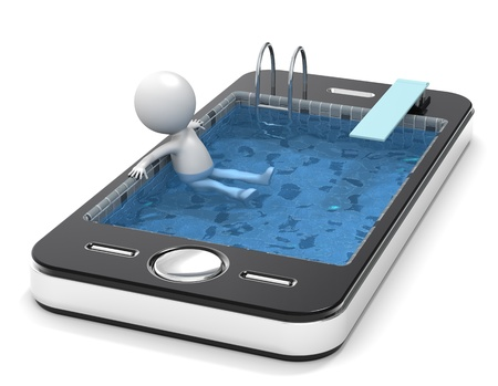 3d swimming pool: 3D little human character Ralaxing in a Pool. Mobile Phone Edition
