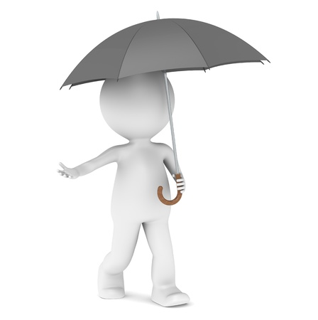3d character: 3D little human character with an Umbrella. People series. Stock Photo