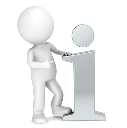 3D little human character pointing at a Steel info icon. People series.