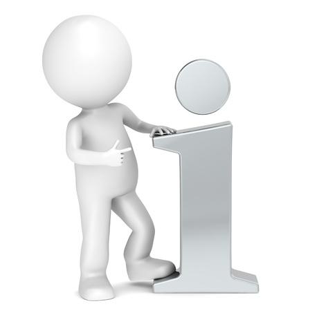 human character: 3D piccolo personaggio umano che punta ad una icona informazioni in acciaio. Le persone serie.