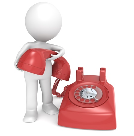 rotary dial telephone: 3D little human character with a Telephone. People series. Stock Photo