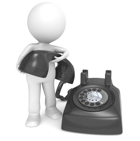 Zeichen: 3D kleine menschliche Figur mit einer schwarzen Telefon. Menschen Serie.