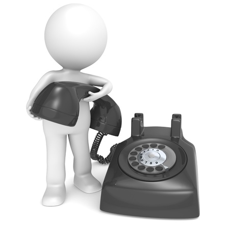 rotary phone: 3D little human character with a Black Telephone. People series. Stock Photo