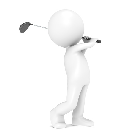 3D little human character Playing Golf. People series. photo