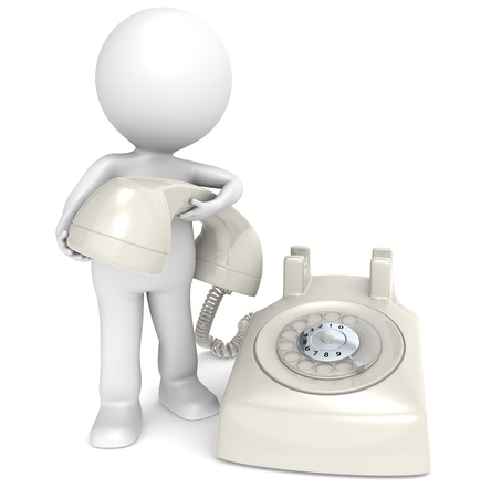 3D little human character with a Telephone, retro cream white plastic. People series. Stock Photo - 10441674