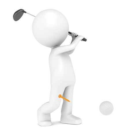 3D little human character Playing Golf. Ball and Tee. People series. photo