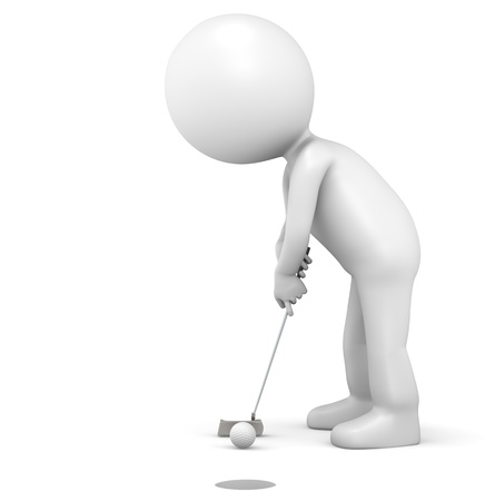 3D little human character The Golfer making a putt. People series. photo