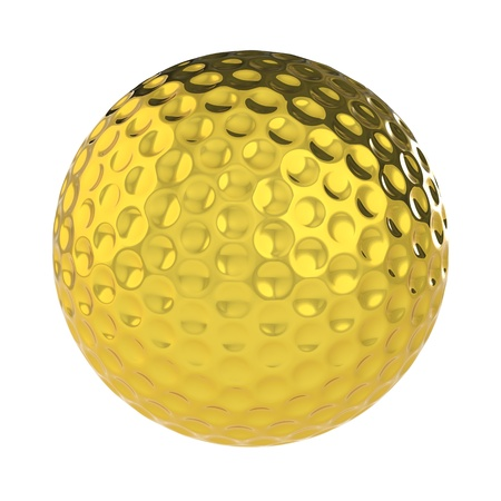 A Golden Golf Ball. Isolated photo