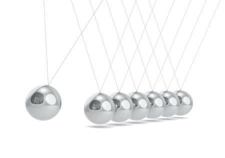 steel balls: Newtons cradle White floor. Steel Balls.