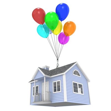 case colorate: Una casa sollevata da palloncini. Isolato Archivio Fotografico