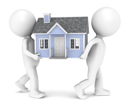 3D poco carattere umano X2 portando una casa. Le persone serie.