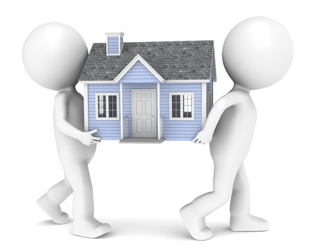 people moving: 3D little human character X2 carrying a house. People series.