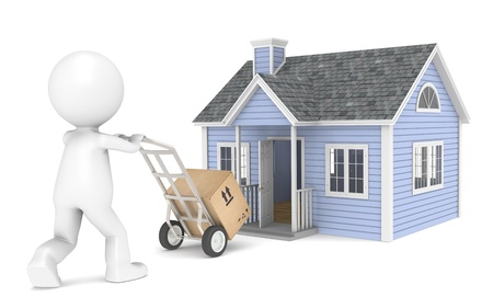 home purchase: 3D little human character with a Hand Truck and a Box. People Series. Stock Photo