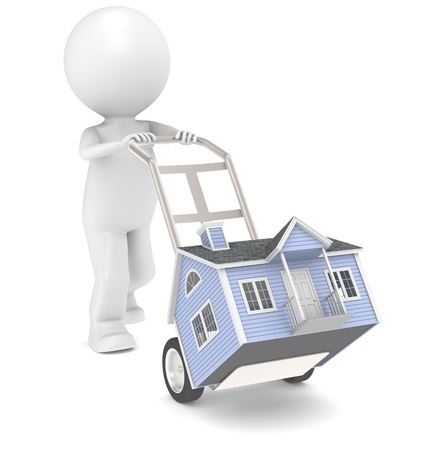 3D little human moving a House with a Hand Truck. People Series. photo