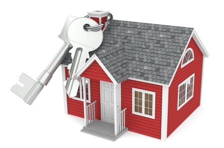 real estate sold: Agencia Inmobiliaria. Casa llaves colgando de la chimenea de una casa roja Foto de archivo