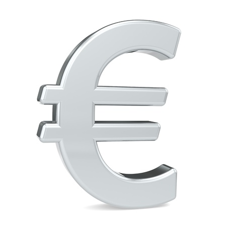 eur: Euro symbol. Silver color. Standing