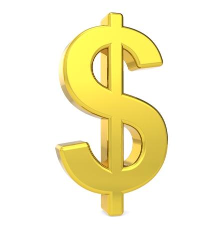 dollaro: Dollaro simbolo. Colore oro. In piedi