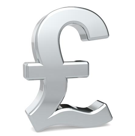 British Pound symbol. Metal color. Standing