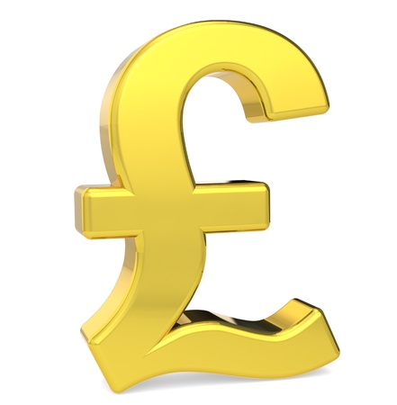 British Pound Symbol Gold Color Standing Stock Photo Picture And