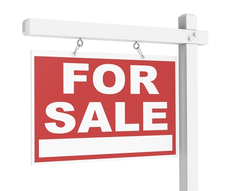 A For Sale Real Estate Sign of Wood. Stock Photo - 10621378