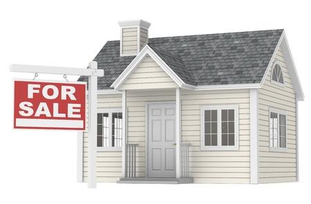 valor: Una casa sencilla con una se�al de venta Foto de archivo