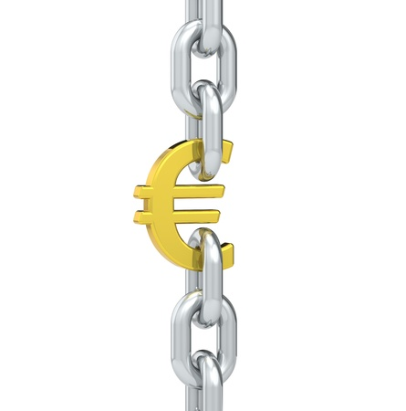 linked chain: Chain linked with Euro symbol. Stock Photo