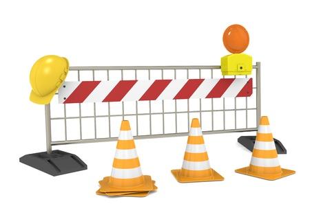 Road blok met Kegels en Barricade Stockfoto