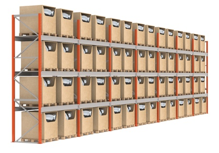 quantities: Warehouse Shelves with prioducts, side view.