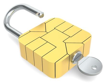 authenticate: A Sim Card Chip made like a Padlock.