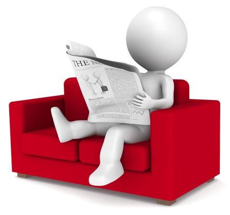 newspapers: 3D weinig menselijk karakter zitten in de sofa het lezen van het nieuws. Mensen series.