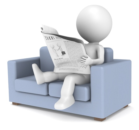 3D little human character sitting in the sofa reading the news. People series. photo