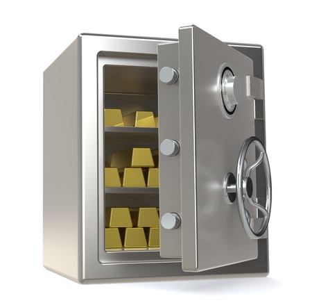 turn the dial: An open Safe with Gold Bars
