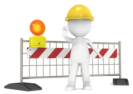 3D little human character The Builder blocking the Road. People series. photo