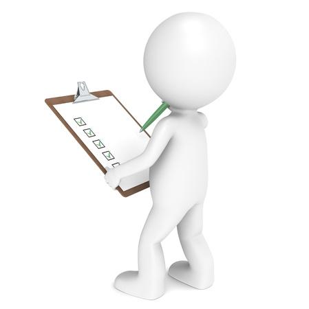 manager: 3D kleinen menschlichen Charakters The Inspector mit einem Clip Board und einen Stift. Menschen Serie. Lizenzfreie Bilder