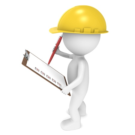 construction project: 3D little human character The Builder holding a Clip Board and a Pen. People series.