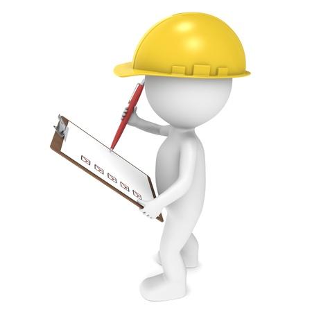 Personnage humain peu 3D The Builder tenant un Conseil de Clip et un stylo. Série de personnes. Banque d'images - 10695307