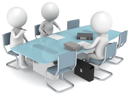 3D little human characters X3 signing papers. Business People series. photo