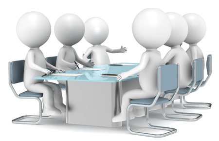 3D little human characters X6 discussing in a meeting. Business People series. photo