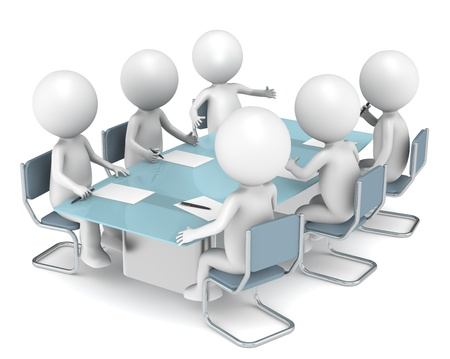 Boardroom meeting: 3D little human characters X6 in the meeting room. Business People series.