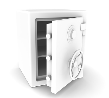 An open Safe with Combination lock. All White. Sparse Stock Photo - 10763640
