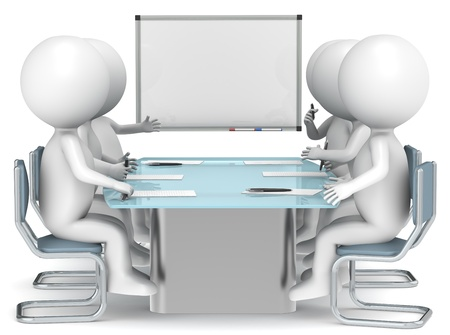 Boardroom meeting: 3D little human characters X6 with a Whiteboard. Business People series.