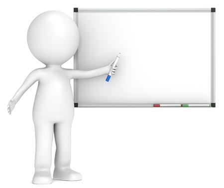 toon: 3D little human character with a Blank Whiteboard.  Business People series.