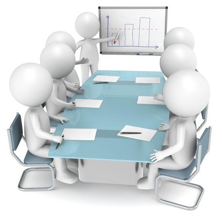 dirección empresarial: 3D humanos poco caracteres X 7 durante una presentación. Serie de personas de negocios. Foto de archivo