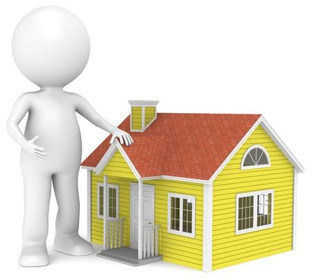 Zeichen: 3D kleinen menschlichen Charakter Infront eines Hauses. Menschen Serie.
