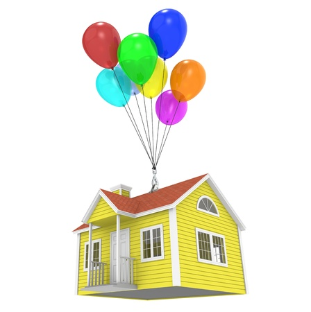 vision futuro: Una casa atada a globos. Aislado