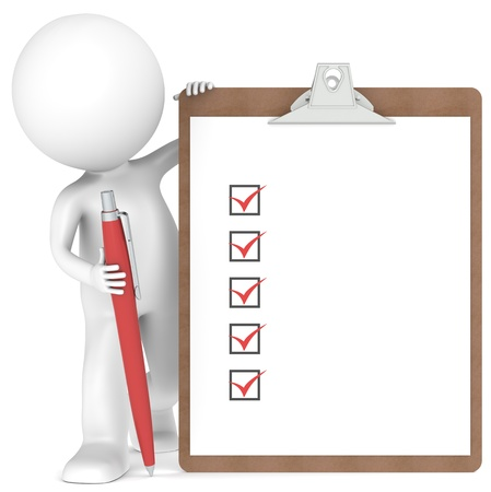 questionnaire: 3D little human character holding a Clipboard with Checklist and a Pen. Red color  Stock Photo